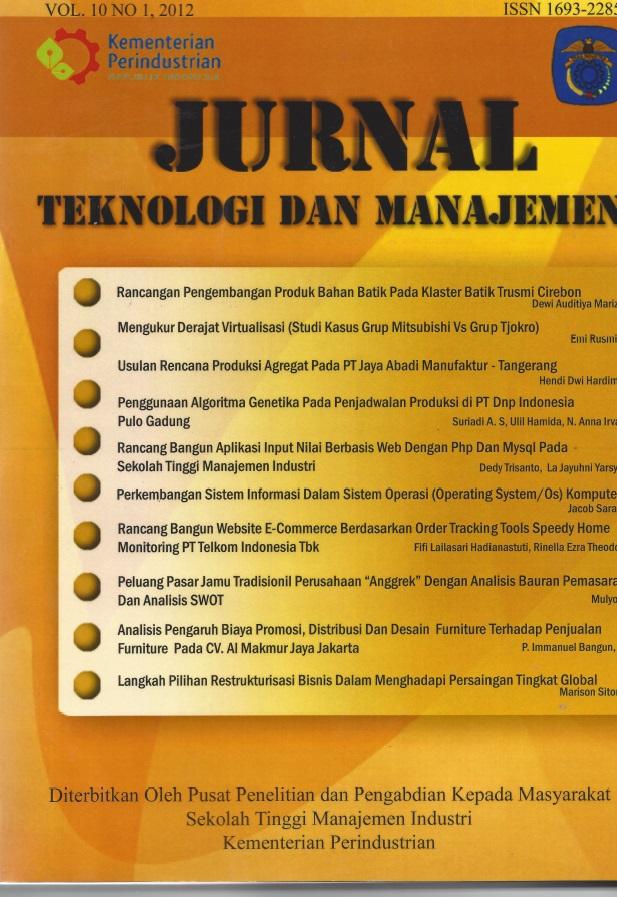 Jurnal Teknologi dan Manajemen Volume 10 No 1 Februari 2012