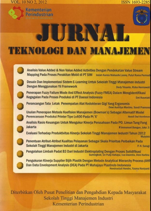 Jurnal Teknologi dan Manajemen Volume 10 No 2 Agustus 2012