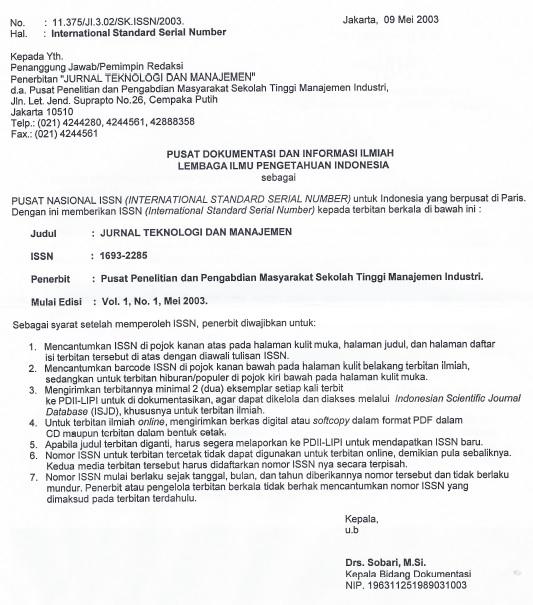 Jurnal Teknologi dan Manajemen Volume 0 No 0 Surat Perolehan ISSN
