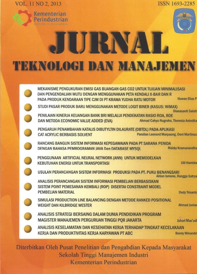 Jurnal Teknologi dan Manajemen Volume 11 No 2 Agustus 2013