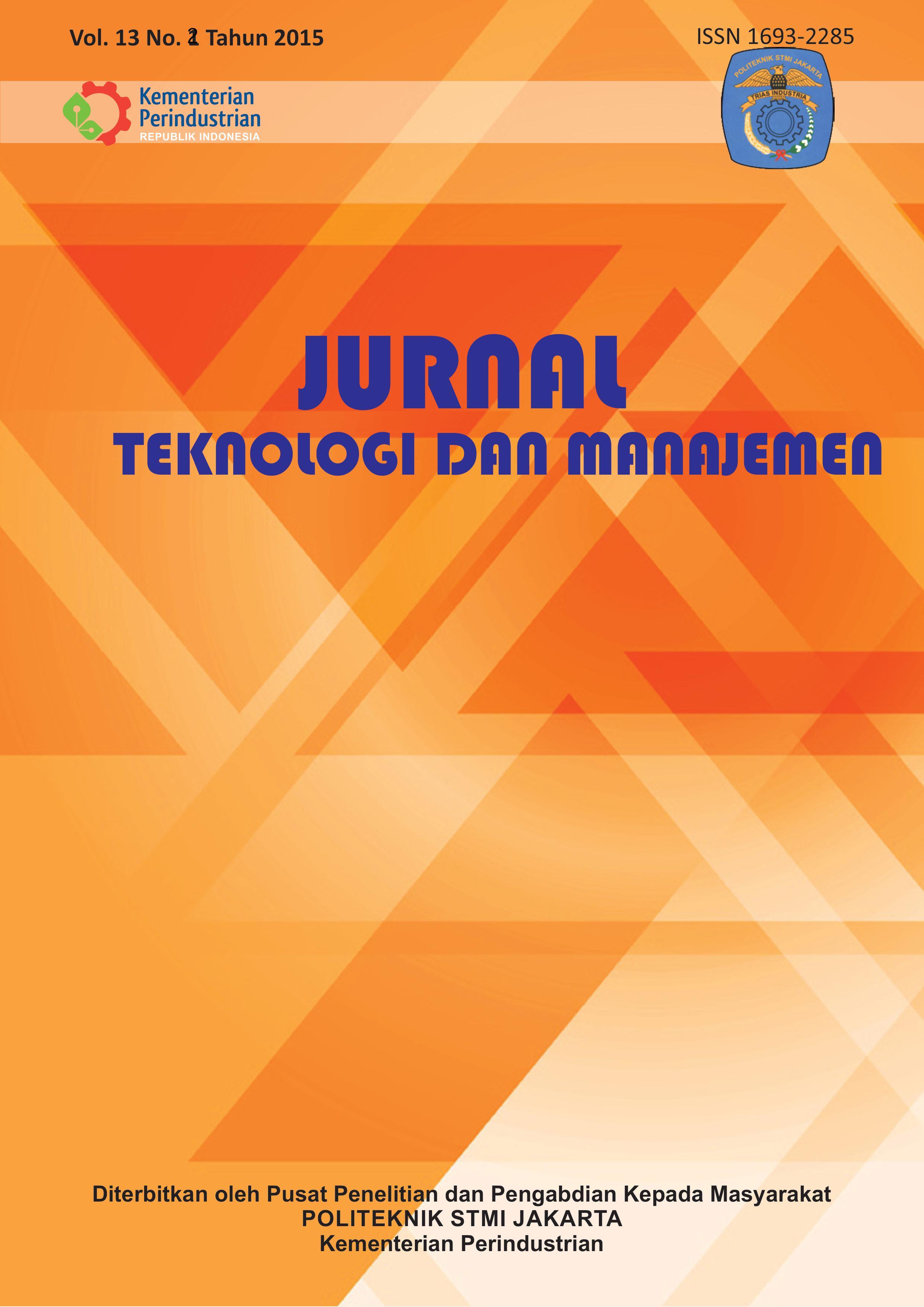 Jurnal Teknologi dan Manajemen Volume 13 No 2 November 2015