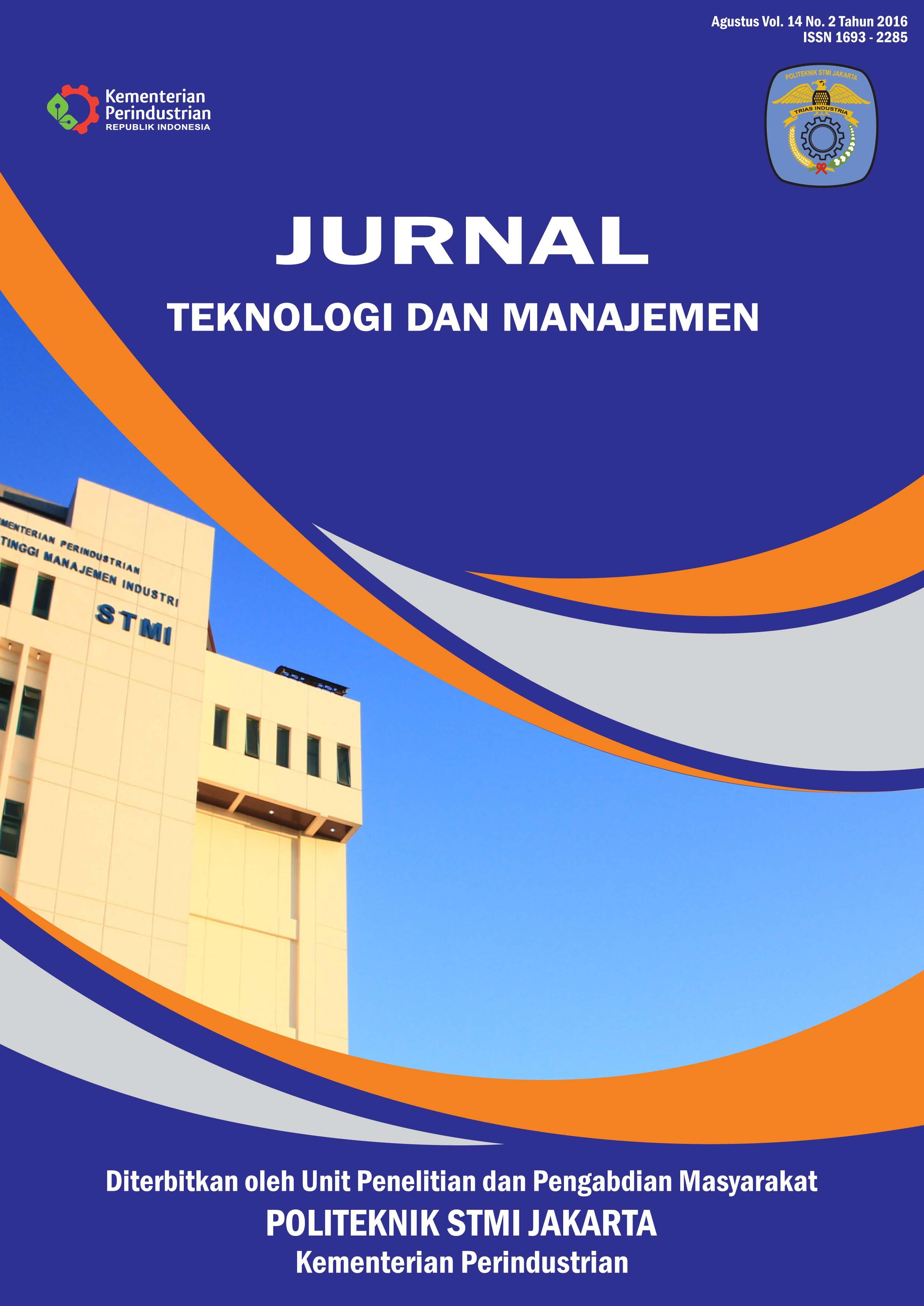 Jurnal Teknologi dan Manajemen Volume 14 No 2 Agustus 2016